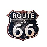 Rebecca SRL Placca Decorativa Cartello Legno da Muro Route 66 Rustico Ingresso Corridoio (cod. RE4766)