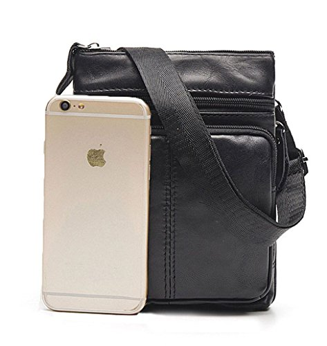 Tibes Moda Messenger Bag a tracolla in pelle borsa tracolla Zipper Uomo Nero