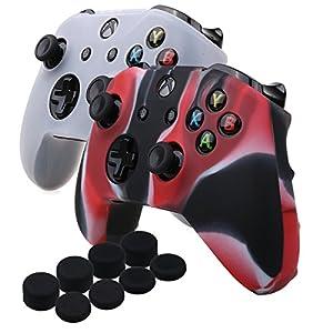 YoRHa Silikon Hülle Abdeckungs Haut Kasten für Microsoft Xbox One X & Xbox One S controller x 2 (Camouflage rot&weiß) Mit PRO aufsätze thumb grips x 8