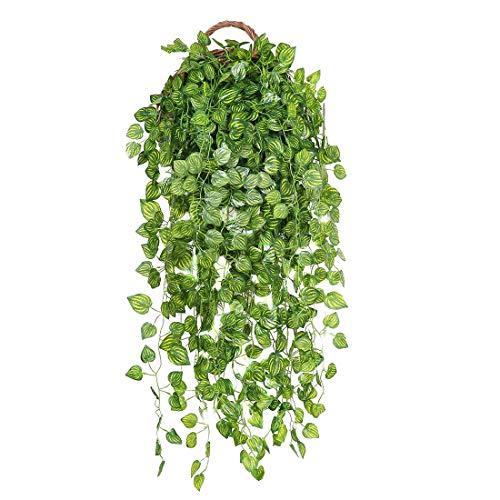 JUSTOYOU 6er-Pack künstlicher Efeu, hängende Girlande, ca. 95cm lang, künstliche/unechte Pflanzen, für den Innen-/Außenbereich, Hängekorb, Haus- oder Gartendekoration, Hanging Plants Style 4, 6pcs 3ft