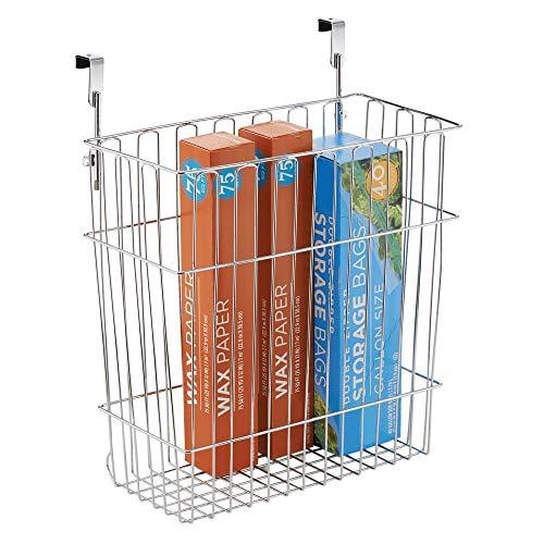 mDesign Mülleimer Küche für 15 L Müllbeutel - ein Abfalleimer aus Stahl mit Chromfinish - auch als Aufbewahrungskorb im Bad geeignet - einfach über die Schranktür hängen -