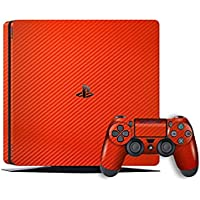 EasySkinz GW Edition Textured Carbon Fibre Skin - RED for Sony Playstation 4 Slim (PS4 Slim)