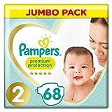 Pampers Premium Protection - Pañales, talla 2 (4-8 kg), paquete jumbo (1 paquete de 68 unidades)