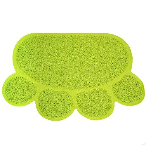 Felpudos Gatos Mat de Comida Cena de Plato PVC 60x45cm (Verde)