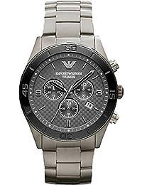 Emporio Armani AR9502 - Reloj de pulsera hombre, titanio, color gris