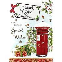 "Both Of You Christmas Card - Traditional Postbox, Robins & Presents 7.5"" x 5.25"""