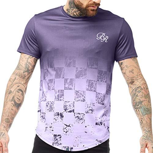 kolila Herren Lässige T Shirt Farbverlauf Kurzarm Oberteile Slim Fit Rundhalsausschnitt Gedruckt Tops Pullover(Lila,3XL)