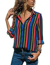 b52ccb76e16073 GOSOPIN Womens Striped Tops Long Roll Sleeve Button Down Blouses V Neck  Casual Chiffon Shirts