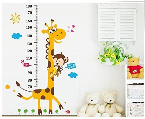 Scimmia arrampicata su adesivo a parete la crescita della giraffa misura i bambini deca della parete di altezza, giallo