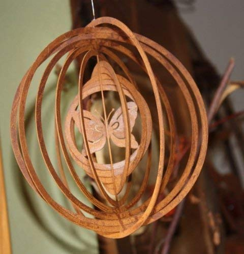 Rostikal Windspiel mit Schmetterling/Wohn- oder Gartendeko aus Metall/Edelrost