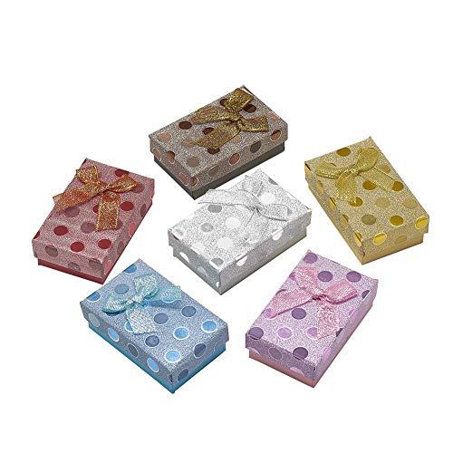 Pandahall 24 pc contenitori di monili di cartone scatola regalo rettangolare con spugna interna per natale compleanni vacanze matrimoni san valentino