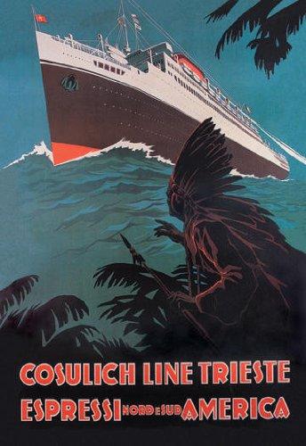 Buyenlarge 02484-4P2030 Trieste Cruise Line nach Nord-und S-damerika 20x30 poster
