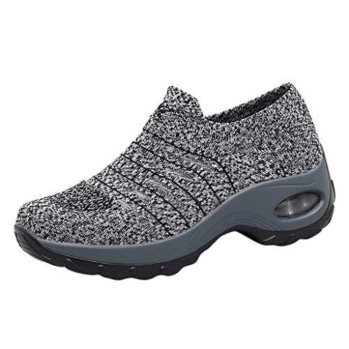 feiXIANG Damen Slipper Bequem Fitness Walking Running Sneakers Dicker Boden Platform Atmungsaktiv Sportschuhe (Grau,35)