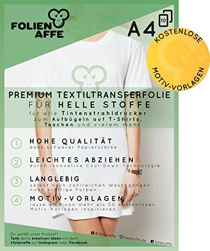 10 Blatt Premium A4 T-Shirt Transferfolie für HELLE Textilien / Stoffe zum Aufbügeln - inkl. 50+ GRATIS Motiv-Vorlagen - Transferpapier / Textilfolie geeignet für alle Inkjet Tintenstrahldrucker