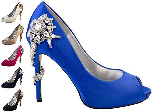 Femmes Sabatine Satin Diamante Talons hauts 11.5cm Chaussures de Mariage