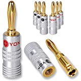 8 x Yonix High End Bananenstecker | vergoldet | BSY-345