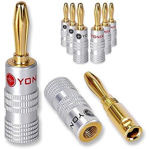 Yonix High End Bananenstecker 24K vergoldet für Kabel bis 6mm², 8 Stück