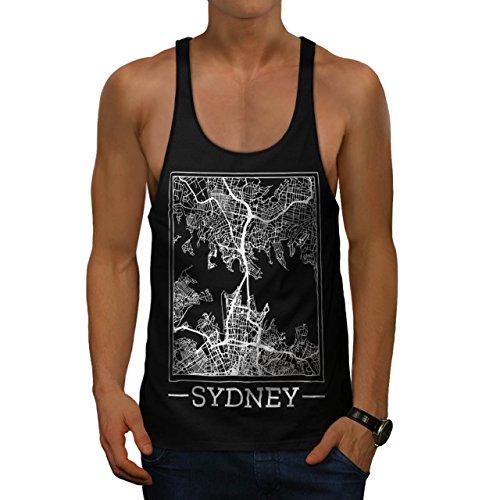 Australien Sydney Karte Groß Stadt Herren M Gym Muskelshirt | (Kostüm Top Australien Hut)
