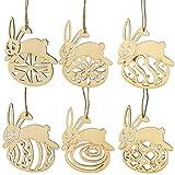 LUOEM 6pcs unlackiert aus Holz Ostereier Bunny Ornamente unvollendete Holz Ausschnitte Holz Scheiben mit Löchern und Bindfäden