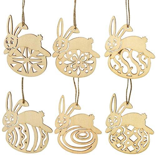 Luoem 6 pezzi decorazione coniglio uova di pasqua in legno non dipinte fette di legno con foro e spago