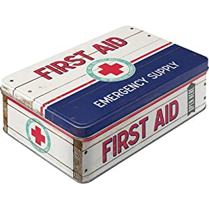 retro first aid tin storage container tin box tin, flat