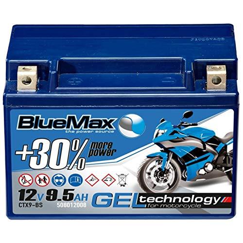 Motorradbatterie GEL 12V 9,5Ah BlueMax YTX9-BS Batterie 50812 CTX9-BS statt 8Ah