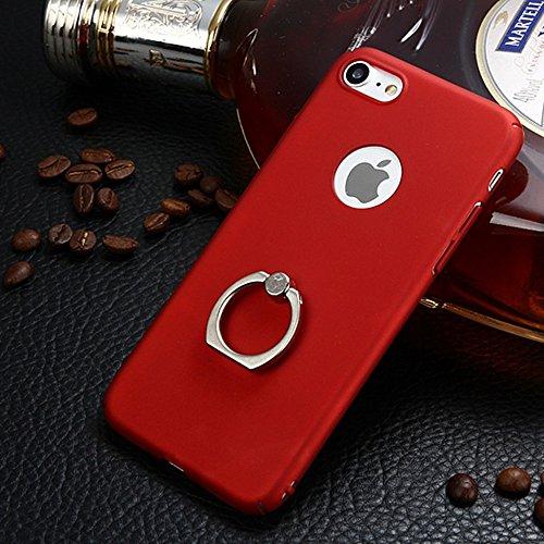 JIALUN-étui pour téléphone Pour Apple iPhone 7 Cover Case, surface brillante mince et léger en plastique dur couverture de protection arrière avec support de bague de doigt ( Color : Red ) Red