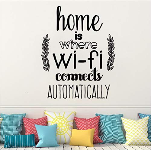 Wall Sticker Home Decor Home is Where WiFi Connected Quote S Living Room Vinyl Wall Stickers Family Love Design Wall Mural 56 * 72Cm