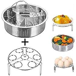 Golden.Y Instant Pot Accessoires Panier Vapeur et œuf cuiseur Vapeur Rack en Acier Inoxydable Légumes Vapeur Rack Support pour autocuiseur Compatible avec Instant Pot 6,8 QT Autocuiseur.