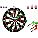 """SLYK Dart Board Set 12"""" (Round Metal Wiring), Double Sided with 4 Metal Darts + 3 Steel Tip Darts"""