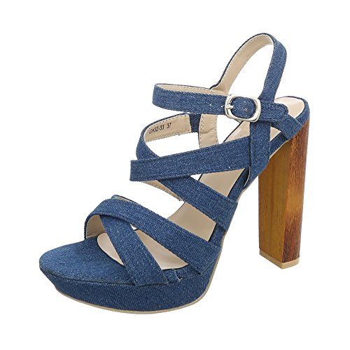 Ital-Design High Heel Sandaletten Damen-Schuhe High Heel Sandaletten Pump High Heels Schnalle Sandalen & Sandaletten Blau, Gr 39, Gh32-33-