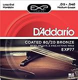 D\'Addario Cordes en bronze 80/20 pour mandoline avec revêtement D\'Addario EXP77, Medium, 11-40