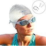 i-Swim - Cuffia da nuoto professionale, impermeabile, per tutti i tipi di capelli, non si sposta, comoda, in solido silicone, da uomo, donna e ragazzi + custodia protettiva + tappanaso + tappi per orecchie