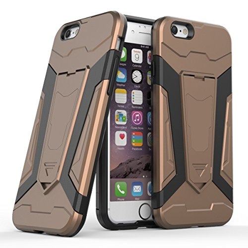 Apple iPhone 6/6S 4.7 Coque, Voguecase [Armure Series] 2 in 1 Shockproof Hybrid Doux TPU and Hard PC Rugged Protective Rigide Plastique Shell Housse Coque Étui Avec Built-in KickSupporter(Vert) de Gra Marron