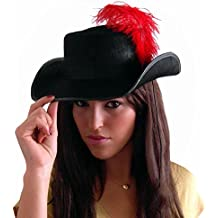 EL CARNAVAL Sombrero Mosquetero con Pluma para Adulto de Fieltro 60c668e0f99