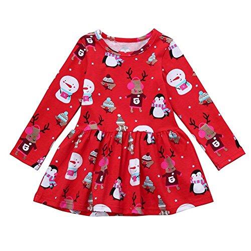 Weihnachten Babykleidung Hirolan Festliche Mädchenkleider Langarmshirt Kleinkind Festzug Knielang Prinzessin Kleid Weihnachtsoutfit Kinderkleider Schneemann Hirsch Drucken (Rot, 90)