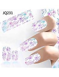 Clou Art Foil, Malloom 4 * 100CM Conception Clou Art Foil Autocollants Avis de décalage de transfert Manucure(F)