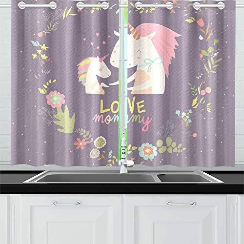 YUMOING lila niedliches Baby Einhorn Mutter Blumen Kranz Küche Vorhänge Fenster Vorhang Ebenen für Cafe Bad Wohnzimmer Schlafzimmer Home Decor 66 x 99 cm 2 Stück - Vorhang-panels Jungen