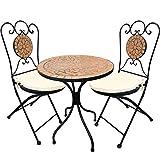 Set di tavolo più sedie da giardino, 5 pezzi, in stile mosaico mediterraneo, mobili da giardino, da bistrò
