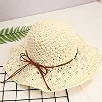 Sunbohljfjh Sonnenhutstrand-Huttrend junger Hut 10cm * 58cm * 11cm des Grashut-weiblichen lässigen Art und Weisegroßen Visiervisier faltbaren Sonnenschutzes