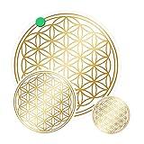atalantes spirit - Blume des Lebens-Aufkleber-Set M Abriebfest - Farbe: Gold - 3 x 3, 2 x 5, 1 x 9 cm - Lebensblume-Sticker - Druck auf Transparenter Folie