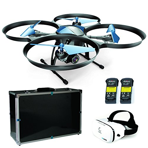 Combo Pack ! Drohne UDI RC U818A PLUS Discovery 2 Upgrade U818A -1 WiFi HD 2MP FPV Kamera 2AK + Profi Case + VR Brille (Brille Grenze)