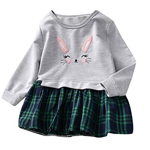 Kleidung Sets Kleinkind Baby Hase Plaid SpleißEn Prinzessinenkleid Sweatshirt Outfits Kleider Mode SchöN Blumen Drucke Lange äRmel Tops Geschenke 1-5 Jahre(Grau,4-5 Jahre) ()