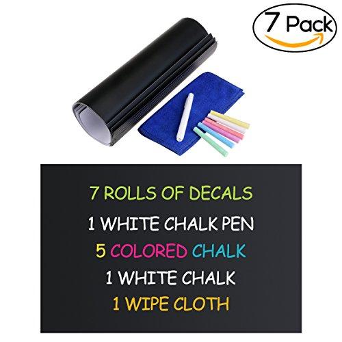 NUOLUX Tafel Aufkleber Wandtattoo 6 farbige Kreide und Radiergummi Tuch enthalten - Tafel Kontakt Papier Vinyl Chalk Board Paint Alternative (12' x 17,7