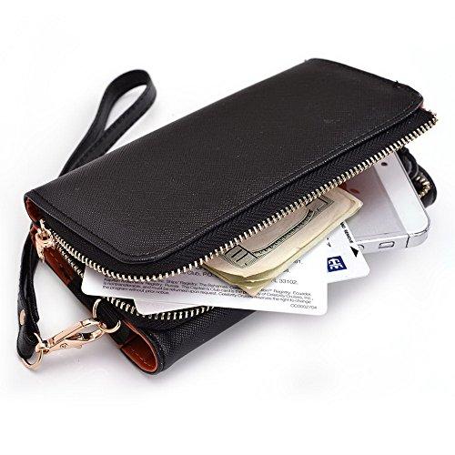 Kroo d'embrayage portefeuille avec dragonne et sangle bandoulière pour JCB tp121PROTALK Smartphone Black and Orange Black and Orange