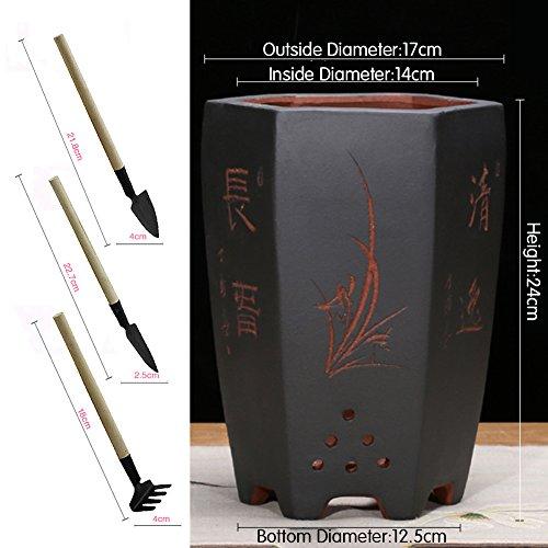 Nclon [style chinois] Argile pourpre Pot de fleur,Personnalité Bassin d'orchidée Tray Bonsaï Pot de fleur Avec Jardinage Raccord-B