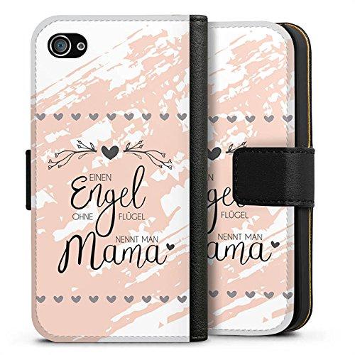 Apple iPhone 4s Hülle Case Handyhülle Muttertag Spruch Mama Sideflip Tasche schwarz