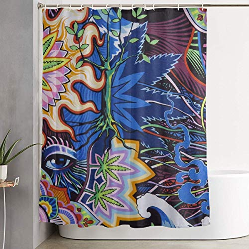 Duschvorhang,Colorful Skull Marijuana Leaf Shower Curtain Liner 70x70 inches Waterproof Fabric Shower Curtains with Hooks Bathroom Sets for Home Hotel Decor Betsey Johnson Zebra