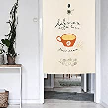 Mr Fantasy Creative lino y algodón pájaro árbol Floral Noren cortina para puerta japonés puerta rajasthali Drapes habitación separador con varilla telescópica para cocina–Dormitorio, coffee cup, 33x47 in