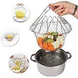 Cesta de la fritura Cesta plegable de la fritada de la tensión del acero inoxidable, cesta del cocinero 9.06 pulgada x 9.06 pulgada x 4.72 pulgada para el alimento frito